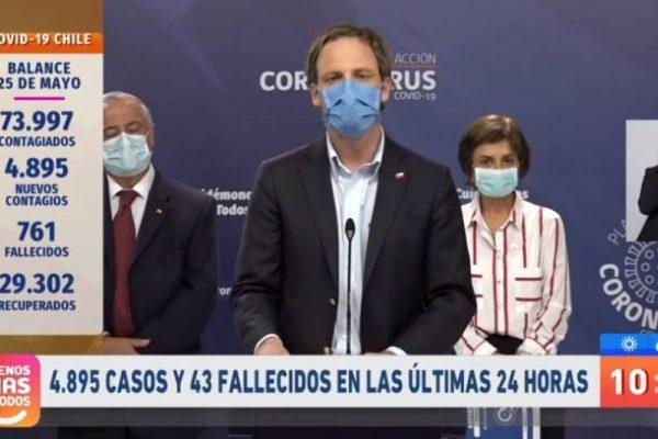 Registra Chile 43 muertos y un incremento de 4.895 nuevos casos de covid-19